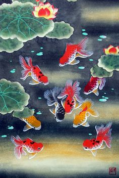 "Oriental Chinese Brush Painting Huge Feng Shui Art-Nine Koi Fish Lotus 26x17"" #Asian"