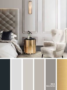 Gray Color Palette Living Room Awesome 11 Gorgeous Bedroom In Grey Hues Gold Grey Color Schemes Grey Bedroom Colors, Grey And Gold Bedroom, Bedroom Color Schemes, Apartment Color Schemes, Gray Bedroom, Grey Color Schemes, Grey Living Room Ideas Color Schemes, Gold Color Scheme, Antique Living Rooms