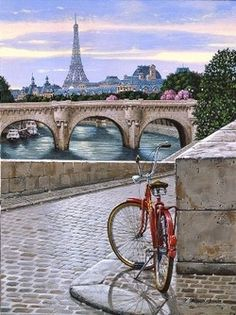 paris-and-lace:  Doesn't this just sum it up?  I'm not sure who the artist is, but they've literally captured everything I think of when I think of Paris — a little red bicycle on the cobbled bank of the Seine, Parisian bridges and boats lazing along the river, with the famous pink blossoms and rooftops in the distance with the uniquitous Eiffel Tower as a backdrop.