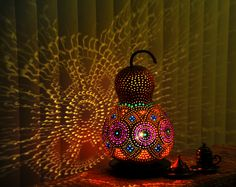 Sold out...  89 € Authentischen Kürbis Lampen Autentici Lampade Zucca Authentic Gourd Lamp
