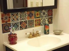 5 Delightful Cool Tips: Arabesque Tile Backsplash subway tile backsplash fixer upper.Backsplash Kitchen Diy backsplash around window layout.Backsplash With Dark Countertops Stainless Steel. Mexican Tile Kitchen, Kitchen Tile Diy, Diy Bathroom, Kitchen Backsplash, Backsplash Ideas, Kitchen Sink, Mexican Tiles, Bathroom Ideas, Kitchen Decor