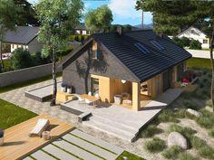 DOM.PL™ - Projekt domu AC Daniel IV G2 CE - DOM AF9-57 - gotowy koszt budowy Village House Design, Village Houses, House Construction Plan, Exterior Design, Architecture Design, House Plans, Gazebo, Shed, Design Inspiration