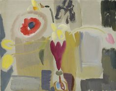 Daffodils, Poppies & Tulips, Ruby Vase, by Ivon Hitchens. © The Estate of Ivon Hitchens. All rights reserved. DACS Photo: Jonathan Clark & Co. Paint Photography, Daffodils, Tulips, Poppies, Watercolor Flowers, Abstract Flowers, Painting Inspiration, Art Boards, Painting & Drawing