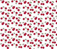 Cherries red x white fabric by mezzo on Spoonflower - custom fabric