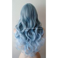 Blue Ombre Wig Pastel Silver Blue Ombre Wig Long Curly Hair Long Side... ($140) ❤ liked on Polyvore featuring hair, bath & beauty and grey
