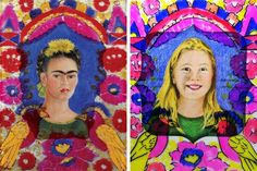 A wonderful art lesson for kids to learn about Mexican painter Frida Kahlo AND to create a self portrait!