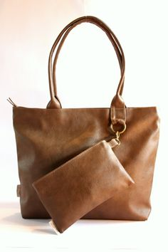 Brown Vegan Leather Tote with Make Up Purse, Woman, Vegan Purse, Casual Bag, Zipper Bag on Etsy, $106.89 CAD