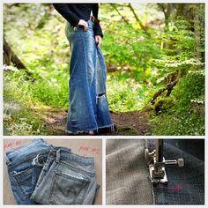 Recycled denim maxi skirt DIY tutorial : DIY Fashion by Trinkets in Bloom