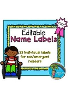 FREEBIE Editable Name Labels {33 individual pictures)