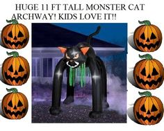 NEW HUGE 11 ft Inflatable Airblown Cat Archway Halloween Walkway Decoration Lawn