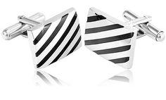 $4.99 Stainless Steel Black Striped Men's Cuff Links