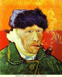 Vincent van Gogh. Self-portrait with a Pipe. December 1888 - May 1889. Oil on canvas. Private collection.