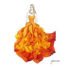 Orange Gown - Grace Ciao - Flower Dress