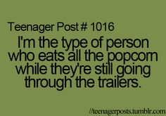 So me.... I have to sit it a seat away for it to last... Eat allllllll the popcorn!