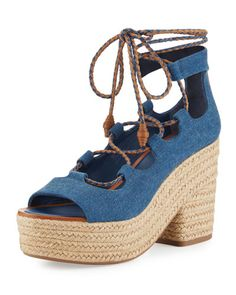 TORY BURCH POSITANO LACE-UP ESPADRILLE SANDAL, BLUE. #toryburch #shoes #flats
