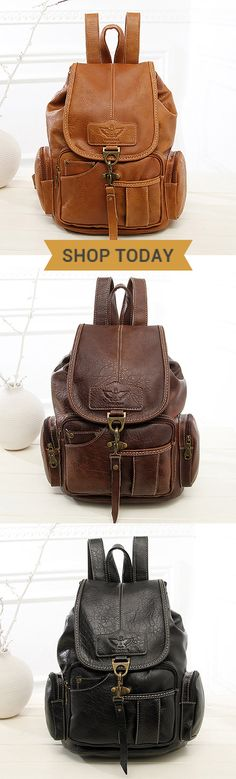 PU Leather Vintage Shoulder Bag/Backpack #fashion #outdoor #style