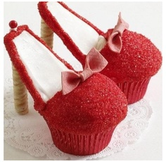 Red high heel cupcakes...using Big Red gum Bows