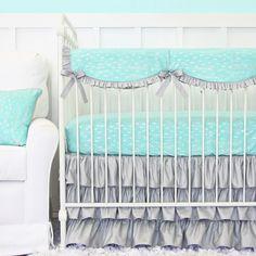 Caden Lane Aqua & Silver Sparkle Ruffle Bedding