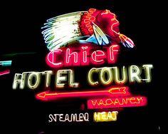 Fine Art Photography Las Vegas Neon Indian Chief Hotel Neon Vintage Sign