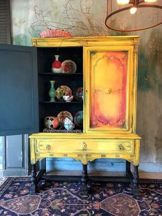 Yellow Painted Furniture, Paint Furniture, Furniture Makeover, Refurbished Furniture, Vintage Furniture, Bohemian Furniture, Eclectic Furniture, Colorful Furniture, Muebles Shabby Chic