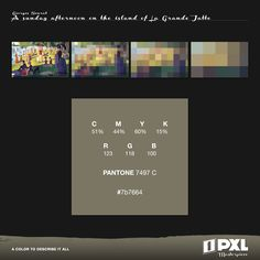"""A sunday afternoon on the island of La Grande Jatte"" by Georges Seurat.      C 51% M 44% Y 60% K 15%     R 123 G 118 B 100     PANTONE 7497 C     #7b7664"
