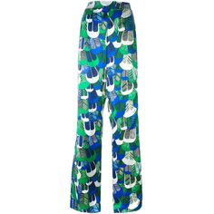 Dsquared2 patterned wide leg trousers ($798) ❤ liked on Polyvore featuring pants, green, high-waisted wide leg pants, green wide leg pants, high waisted wide leg trousers, green pants and wide leg pants