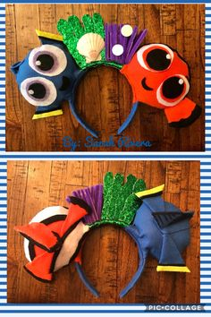 Dory & Nemo DIY Mickey Ears! Used felt, chenille sticks, glitter sheet, seashell, sequins, hot glue, cardboard/batting for the ears, and a headband. By: Sarah Jean Rivera