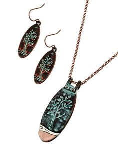 Two-tone & Patina / Lead&nickel Compliant / Metal / Fish Hook (earrings) / Tree Pendant / Necklace & Earring Set