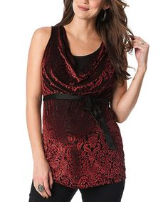 Take a look at this Burgundy Velvet Maternity Sleeveless Top by Motherhood Maternity on #zulily today!