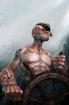 """albotas:  Tuff  Tatted: Realistic Popeye Artist Lee Ramaos take on the iconic sailor featuring a more chiseled (but just as anatomically baffling) physique and some clever tattoos like a chest piece that reads I Yam What I Yam, a sailors knot on his hand, spinach leaves, an homage to Olive Oil, and, my personal favorite, an Anchor with the date 1.17.29 which marks when Popeye m..."