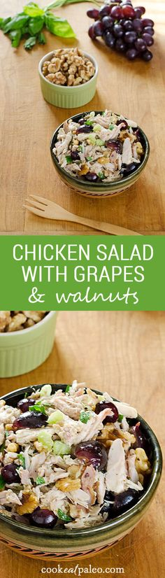 Chicken Salad with Grapes and Walnuts is an easy paleo lunch with organic chicken, fruit and vegetables, with healthy fats from the walnuts and olive oil. ~ http://cookeatpaleo.com