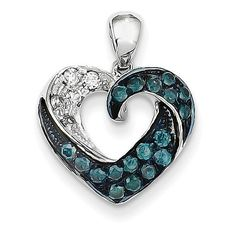 14k White Gold Blue and White Diamond Heart Pendant XP4403AA