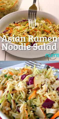 *VIDEO* This Asian Ramen Noodle salad takes 20 minutes to whip together and can be made the night before. Easy, quick and one of our favorite salads! *VIDEO* This Asian Ramen Noodle salad takes 20 minutes to whip Asian Ramen Noodle Salad, Raman Noodle Salad, Noodle Salads, Ramen Noodle Recipes, Ramon Noodle Salad Recipes, Coleslaw With Ramen Noodles, Cold Pasta Salads, Pasta Salad Recipes Cold, Ramen Coleslaw