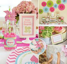 We are blown away by all the HAPPY birthday ideas in this Pretty Pink & Green Pinwheel Party!
