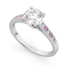 Cathedral Pink Sapphire & Diamond Engagement Ring 14k White Gold 0.20ct - U2781 Engagement Ring Settings, Diamond Engagement Rings, Diamond Shapes, Diamond Cuts, Sapphire Diamond Engagement, Pink Gemstones, Best Diamond, Pink Sapphire, Colored Diamonds