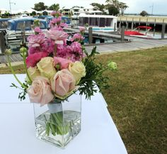signing table flowers of roses and stocks. Created by Sweet Floral