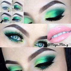 Gorgeous Makeup: Tips and Tricks With Eye Makeup and Eyeshadow – Makeup Design Ideas Yellow Eye Makeup, Green Eyeshadow, Makeup For Green Eyes, Maya Mia, Skin Makeup, Eyeshadow Makeup, Eyeshadows, Drugstore Makeup, 80s Makeup