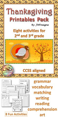 Want to add some activities to your Thanksgiving studies?  This pack of printables will do the trick.  8 worksheets to strengthen 2nd and 3rd grade ELA Common Core State Standards... Plus a little fun!