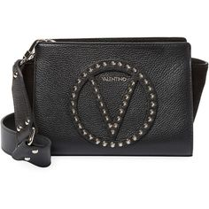 Valentino by Mario Valentino Women's Kiki Rock Studded Crossbody Bag -... ($310) ❤ liked on Polyvore featuring bags, handbags, shoulder bags, black, zipper purse, crossbody purse, studded shoulder bag, studded crossbody and cross-body handbag