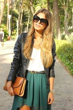 On point.. Hair, belt, jacket and forest green high low.. Perfect fall transition