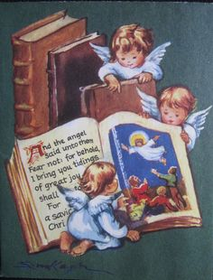 Vintage Christmas Greeting Card Angels Reading the Good Book Kager Brownie