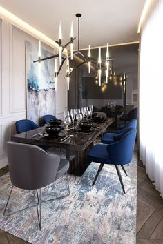 Get inspired by these dining room decor ideas! From dining room furniture ideas, dining room lighting inspirations and the best dining room decor inspirations, you'll find everything here! Luxury Dining Room, Dining Room Sets, Dining Room Design, Dining Tables, Dining Suites, Dark Grey Dining Room, Carpet Dining Room, Kitchen Tables, Kitchen Ideas