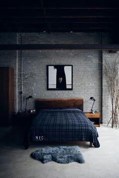 Bedroom Decor Ideas for Men: wood bed frame, grey and navy, industrial bedside lights, simple, dark decor, framed art.