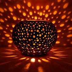 Coconut lamp  coconut candle holders coconut lantern by Namigurumi