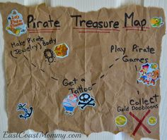 Love this pirate treasure map (from a paper bag)... and all the other simple pirate party decor ideas on this blog post.