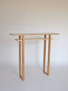 Tall Narrow Foyer Table: Wood Hall Table, Side Table, Minimalist Console   Handmade