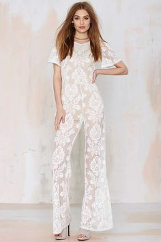 One and Only White Lace Jumpsuit