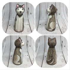 Custom peg doll of a husky dog Wood Peg Dolls, Clothespin Dolls, Dog Crafts, Crafts For Kids, Waldorf Toys, Little Critter, Wooden Pegs, Kokeshi Dolls, Hobbies And Crafts