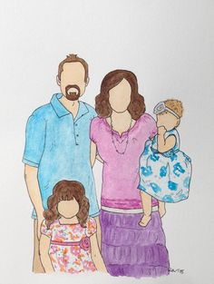 Custom 8x10 Watercolor Family Sketch From Photo by RainyDayCreate