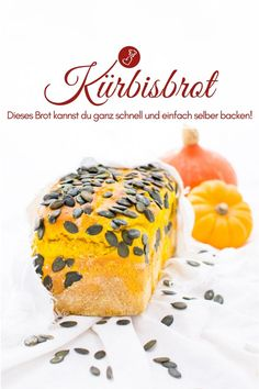 Kürbisbrot Rezept – einfach, schnell und mit Trockenhefe Bread recipes, pumpkin recipes: Recipe for a simple pumpkin bread with spelled from herzelieb. Yeast Bread Recipes, Smoothie Recipes, Snack Recipes, Starbucks Pumpkin Bread, Meatloaf Recipes, Dry Yeast, Calories, Air Fryer Recipes, Sweets